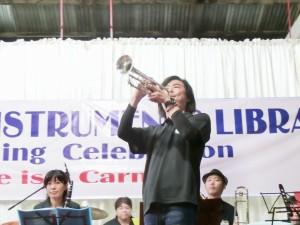 180512ミャンマー楽器の図書館コンサート2 日本人トランペッター